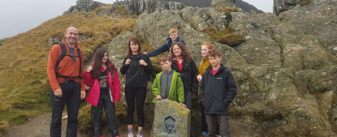 group climbing Snowdon via Crib Gogh